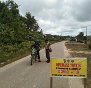 Gelar Operasi Yustisi, Polsek Kuala Behe Himbau Warga Disiplin Terapkan 5M